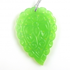 Carved Chrysoprase Drop Leaf Shape 50x34mm Drilled Bead Single Piece