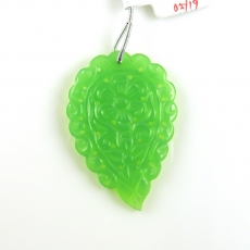 Carved Chrysoprase Drop Leaf Shape 51x34mm Drilled Bead Single Piece