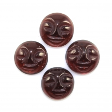 Carved Faces Red Garnet Cabs Round 9mm Approximately 10 Carat