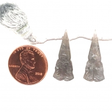 Carved Gray Moonstone Conical Shape 24x10mm Drilled Beads Matching Pair