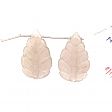 Carved Gray Moonstone Leaf Shape 35x13mm Drilled Beads Matching Pair