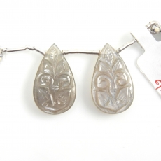 Carved Grey Moonstone Drops Almond Shape 24X14mm Drilled Beads Matching Pair
