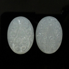 Carved Ivory Moonstone 17.09 Carat Oval 19x13x3.5mm