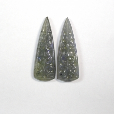 Carved Labradorite 58 Carat Conical Shape 49x16x4mm Matching Pair