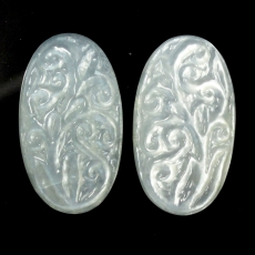 CARVED MOONSTONE 36.85 CARAT OVAL 27X15X5MM