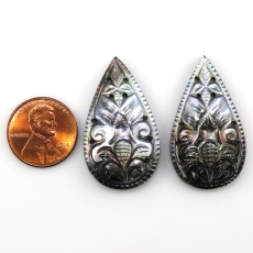 Carved Mother Of Pearl Almond Shape 36x20mm Matched Pair Approximately 30.55 Carat