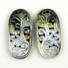 Carved Mother Of Pearl Oval 40x19mm Matched Pair Approximately 30.55 Carat