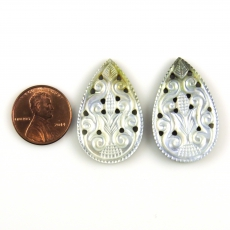 Carved Mother Of Pearl Pear Shape 33x21mm Matched Pair Approximately 30.55 Carat