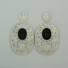 CARVED MOTHER OF PEARL WITH ONYX INLAY 102.70 CARAT OVAL 15X11X2MM  &  50X35X3MM
