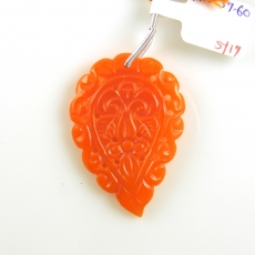 Carved Orange Chalcedony Drop Leaf Shape 42x30mm Drilled Bead Single Piece