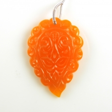 Carved Orange Chalcedony Drop Leaf Shape 50x35mm Drilled Bead Single Piece