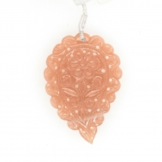 Carved Peach Moonstone Drop Leaf Shape 45x32mm Drilled Bead Single Pendant Piece