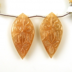 Carved Peach Moonstone Drops Leaf Shape 34x17mm Drilled Beads Matching Pair