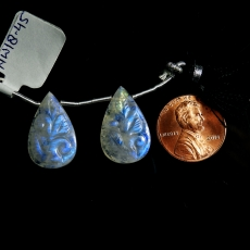 Carved Rainbow Moonstone Drops Almond Shape 21x13mm Drilled Beads Matching Pair