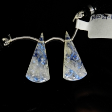 Carved Rainbow Moonstone Drops Conical Shape 28x13mm Drilled Beads Matching Pair