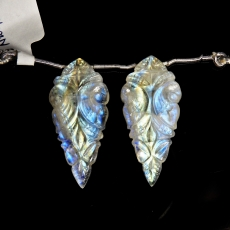Carved Rainbow Moonstone Drops Leaf Shape 38x17mm Drilled Beads Matching Pair
