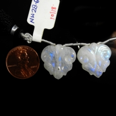 Carved Rainbow Moonstone Heart Shape 19x19mm Drilled Beads Matching Pair