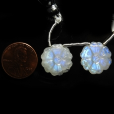 Carved Rainbow Moonstone Round 16x16mm Drilled Beads Matching Pair