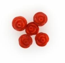 Carved Red Coral Flower 8mm Drilled bead