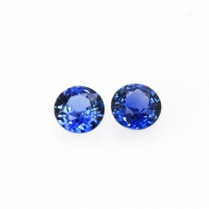 Ceylon Blue Sapphire Round 6mm Matched Pair Approximately 1.92 Carat *