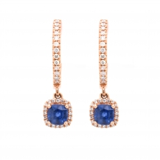 Ceylon Sapphire 1.02 Carat With Accented Diamond Dangle Earring in 14K Rose Gold