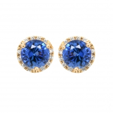 Ceylon Sapphire 2.29 Carat With Accented Diamond Stud Halo Earring in 14K Yellow Gold