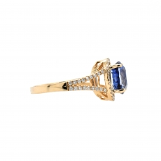 Ceylon Sapphire Round 3.73 Carat Ring With Diamond Accent in 14K Yellow Gold