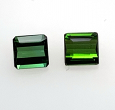 Chrome Tourmaline Emerald Cut 5.8x5.5mm Matching Pair 1.90 Carat