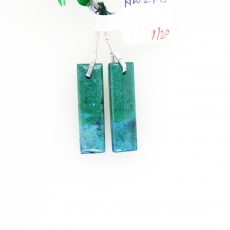 Chrysocolla Drops Baguette Shape 27x8mm Drilled Beads Matching Pair