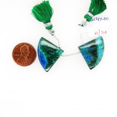 Chrysocolla Drops Fan Shape 20x27mm Drilled Beads Matching Pair