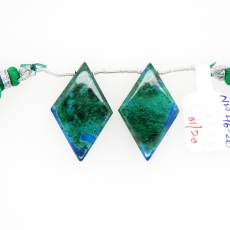 Chrysocolla Drops Kite Shape 30x18mm Drilled Beads Matching Pair
