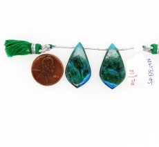 Chrysocolla Drops Leaf Shape 27x15mm Drilled Beads Matching Pair