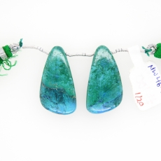 Chrysocolla Drops Wing Shape 15x20mm Drilled Beads Matching Pair
