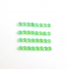 Chrysoprase Cabs Approximately 10 Carats Round 4x4mm