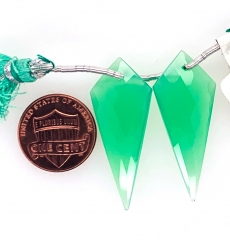 Chrysoprase Shield Shape 34x13mm Drops Front To Back  Drilled Beads Matching Pair