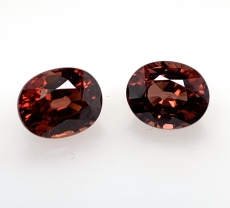 Cinnamon Zircon Oval 11x9mm Matched Pair 12.55 Carat