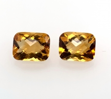Citrine Emerald Cut 9x7mm Matching Pair Approx 4.2 Carat