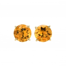 Citrine Round 2.50 Carat Stud Earring in 14K Yellow Gold