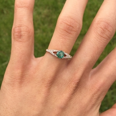 Close Out Clearance !! 0.48 Carat Indicolite Tourmaline And Diamond Ring In 14k Rose Gold