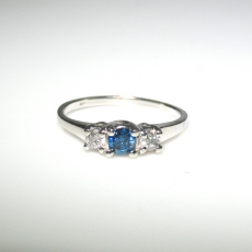 Close Out Clearance Sale !! 0.45 T.c.w Blue Diamond And Diamond Ring In 14k White Gold