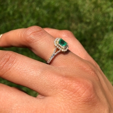 Colombian Emerald Emerald Cut 0.39 Carat With Accent White Diamond Ring In 14k Yellow Gold