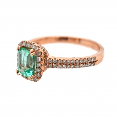 Colombian Emerald Emerald Cut 0.80 Carat Ring With Diamond Accent in 14K Rose Gold