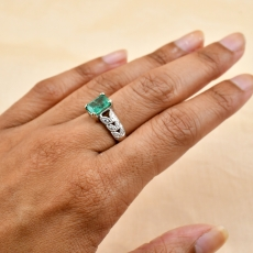 Colombian Emerald Emerald Cut 1.46 Carat Ring With Diamond Accent in 14K White Gold