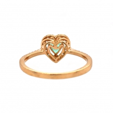 Colombian Emerald Heart Shape 0.39 Carat Ring With Diamond Accent in 14K Yellow Gold