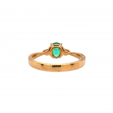 Colombian Emerald Oval 0.44 Carat Ring With Diamond Accent in 14K Yellow Gold