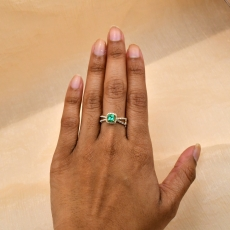Colombian Emerald Princess Cut 0.51 Carat Ring With Diamond Accent in 14K Yellow Gold