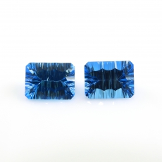 Concave Swiss Topaz Emerald Cut 16x12mm 27.66 Carat Matching Pair