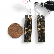 Copper Black Obsidian Drops Baguette Shape 33x10mm Front To Back Drilled Beads Matching Pair