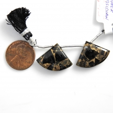 Copper Black Obsidian Drops Fan Shape 22x17mm Drilled Beads Matching Pair