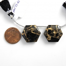 Copper Black Obsidian Drops Hexagon Shape 22x19mm Drilled Beads Matching Pair